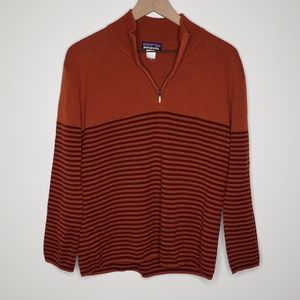 Patagonia Quarter Zip Merino Wool Sweater Stripes